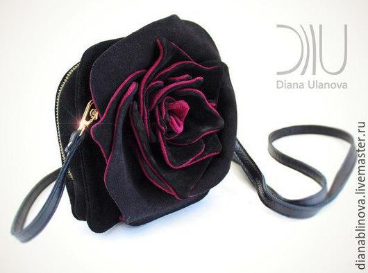 Женские сумки ручной работы. Ярмарка Мастеров - ручная работа. Купить мини Роза черно-винная (замша). Handmade.