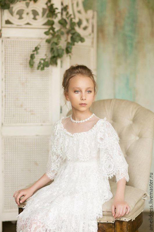 Одежда для девочек, ручной работы. Ярмарка Мастеров - ручная работа. Купить Платье Катюша. Handmade. Белый, кружева, роскошь, кружево
