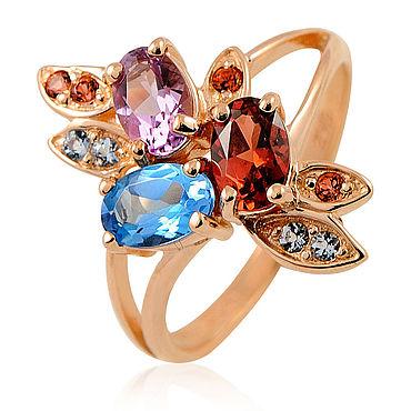 Decorations handmade. Livemaster - original item 585 red gold Topaz, garnet and amethyst ring. Handmade.