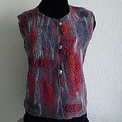 Одежда ручной работы. Ярмарка Мастеров - ручная работа Жилет валяный Серо-бордовый. Handmade.