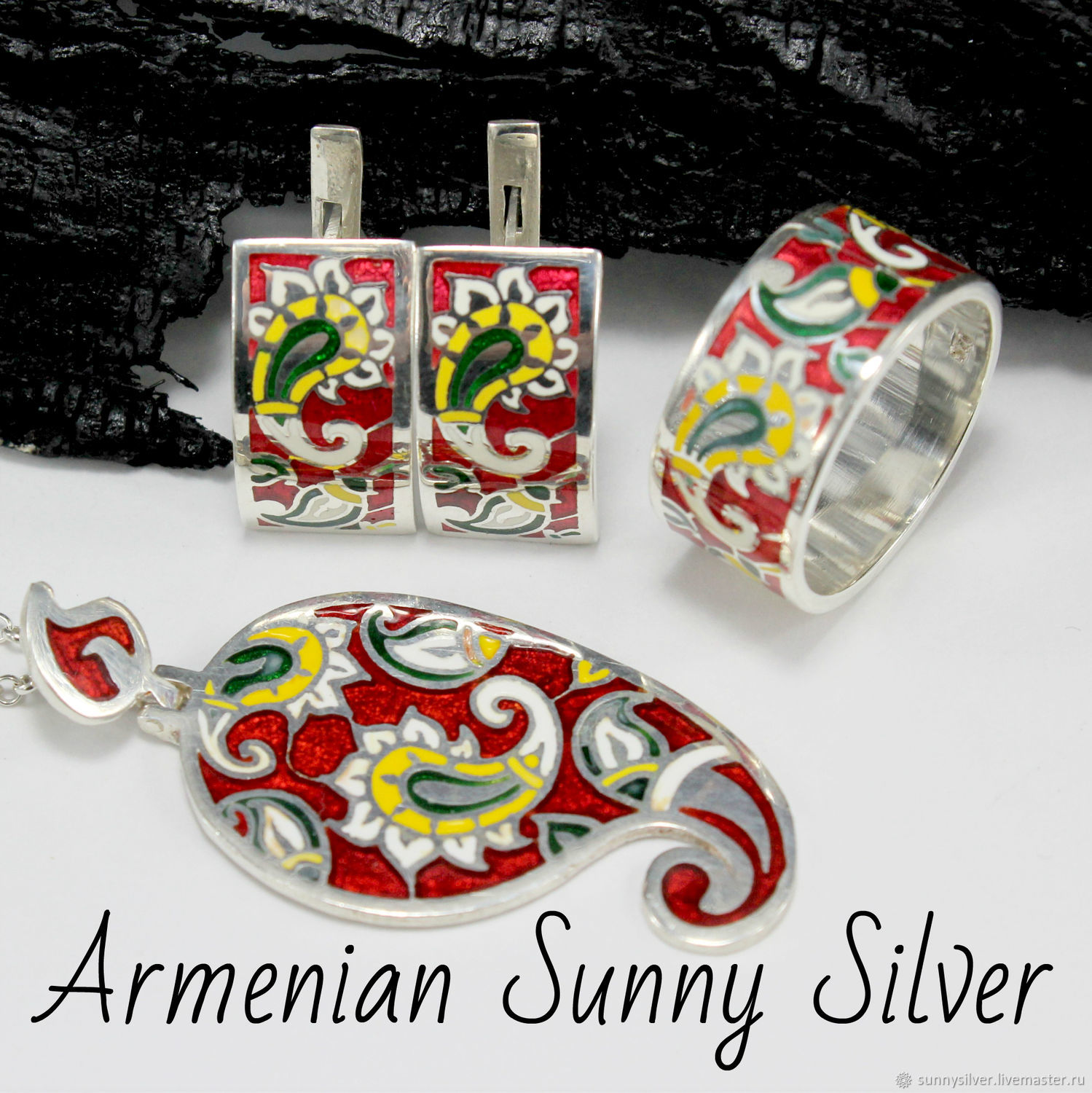 Paisley Cucumber ring, earrings and pendant in 925 sterling silver with enamel, Jewelry Sets, Yerevan,  Фото №1