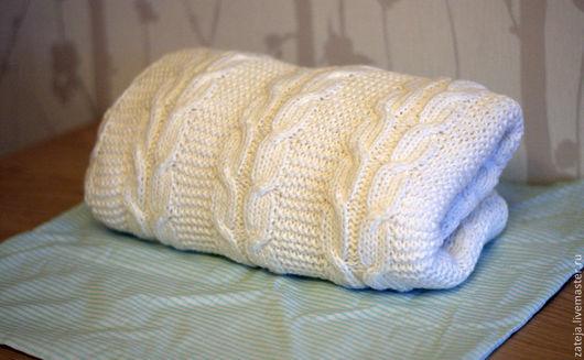 """Пледы и одеяла ручной работы. Ярмарка Мастеров - ручная работа. Купить Детский плед """"Березка"""". Handmade. Белый, плед спицами"""