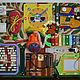 Шнуровка, доска для рисования, гремящие шарики-светофор, счёты, молния, часы, звонкий ксилофон и мн.др.