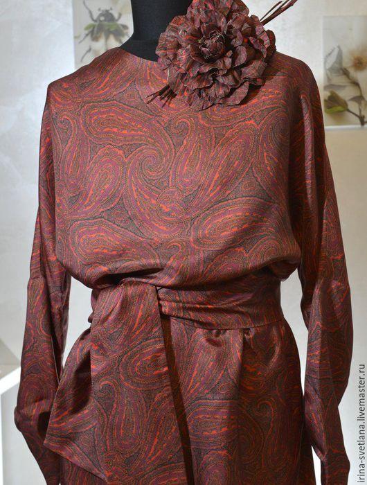 Платья ручной работы. Ярмарка Мастеров - ручная работа. Купить Шелковое платье. Handmade. Бордовый, в пол, осень