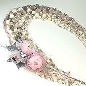 Украшения handmade. Livemaster - original item Necklace: Smoky Pink Etude Natural Stones Removable Floral Decor. Handmade.