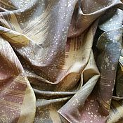 Аксессуары ручной работы. Ярмарка Мастеров - ручная работа Шарф коричнево-зеленый шелк шерсть батик. Handmade.
