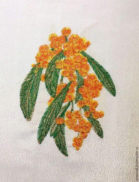 """Картины цветов ручной работы. Ярмарка Мастеров - ручная работа. Купить Вышитая картина, картинка, панно """"Мимоза золотая"""". Handmade."""