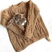 Одежда детская handmade. Livemaster - original item Jumpers: Knitted jumper for children from eco wool Beige braids. Handmade.
