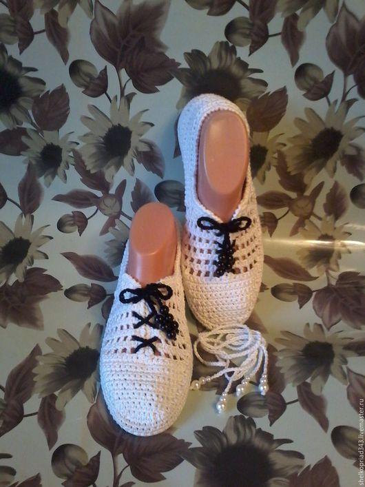 Обувь ручной работы. Ярмарка Мастеров - ручная работа. Купить МОКАСИНЫ УЛЬТРА  БЕЛЫЕ. Handmade. Белый, балетки крючком, слипоны