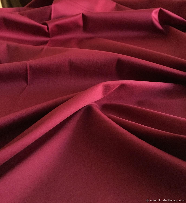 Italian fabric satin cotton with elastane suit cherry color, Fabric, St. Petersburg,  Фото №1