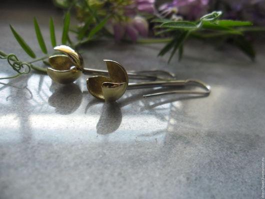 Серьги из серебра и латуни. Авторское ювелирное украшение.
