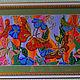"""Картины цветов ручной работы. Ярмарка Мастеров - ручная работа. Купить Вышивка бисером. Картина """"Бабочки"""". Handmade. Ярко-красный"""