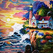 Картины и панно ручной работы. Ярмарка Мастеров - ручная работа Пейзаж с маяком. Вольная копия картины Джеймса Ли.. Handmade.