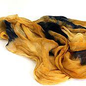 """Аксессуары ручной работы. Ярмарка Мастеров - ручная работа Палантин """"Бурное море, солнечный песок"""" - шелк, батик. Handmade."""