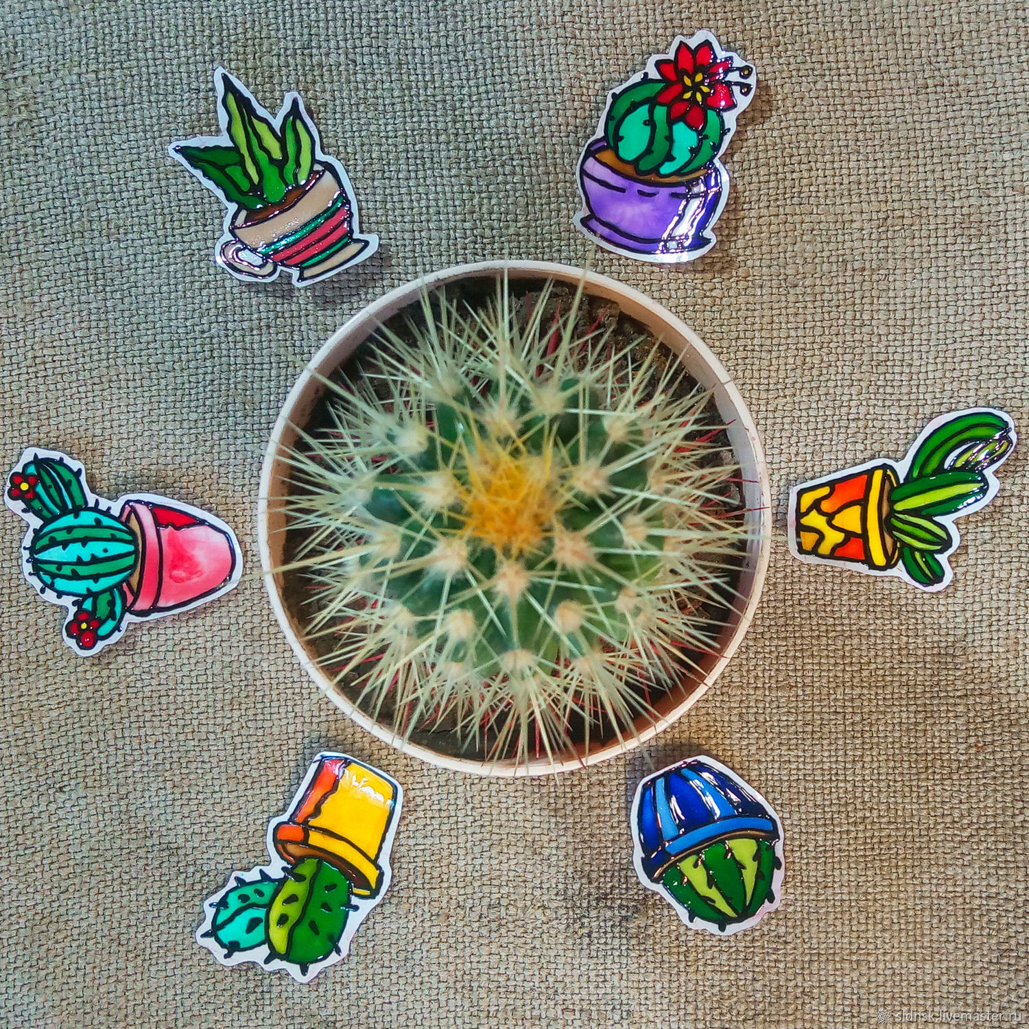Set of stained glass stickers ' Cacti', Interior elements, Novosibirsk,  Фото №1