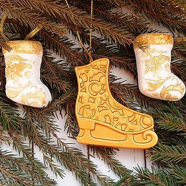 Для дома и интерьера ручной работы. Ярмарка Мастеров - ручная работа Набор елочных украшений. Handmade.