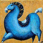 """Картины и панно ручной работы. Ярмарка Мастеров - ручная работа """"Синяя лошадь - символ 2014 года"""", авторская печать. Handmade."""