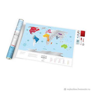 Diseño y publicidad manualidades. Livemaster - hecho a mano Mapa De Travel Map Silver World. Handmade.