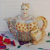 """Посуда ручной работы. Ярмарка Мастеров - ручная работа """"Купчиха и рыжий кот"""" чайник заварочный. Handmade."""