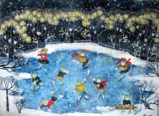 Фантазийные сюжеты ручной работы. Ярмарка Мастеров - ручная работа. Купить Лягушатник зимой. Handmade. Комбинированный, Снег, танец, темпера