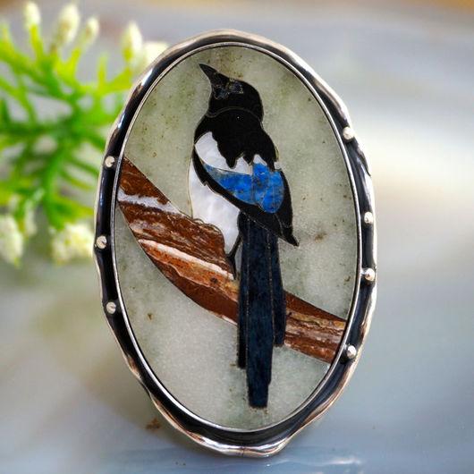 """Кольца ручной работы. Ярмарка Мастеров - ручная работа. Купить Кольцо """"Сорока"""" - флорентийская мозаика, серебро. Handmade."""