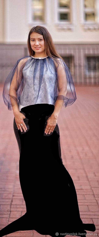 Блузки: Блузка валяная Бабочка серебристо-синяя, Куклы и пупсы, Санкт-Петербург,  Фото №1