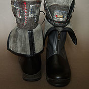 Обувь ручной работы. Ярмарка Мастеров - ручная работа Сапоги войлочные кожаные Серые. Handmade.