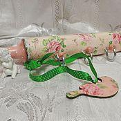 Для дома и интерьера handmade. Livemaster - original item Hanger-rolling pin kitchen soft pink, shabby, decoupage. Handmade.