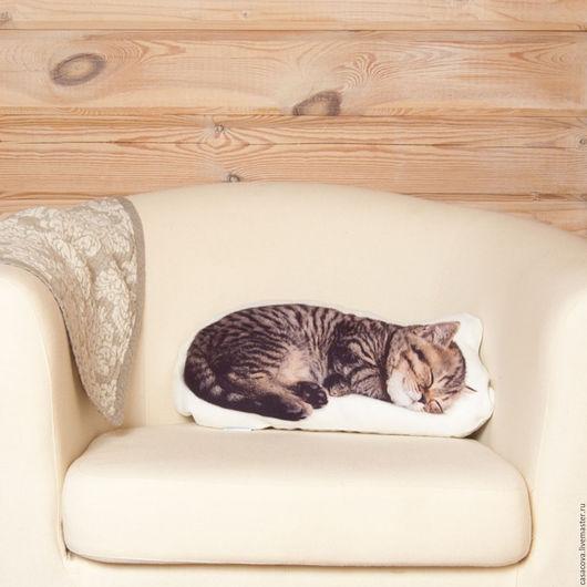 Текстиль, ковры ручной работы. Ярмарка Мастеров - ручная работа. Купить Подушка Спящий котёнок – льняная подушка в виде котёнка. Handmade.