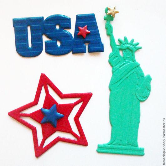 Открытки и скрапбукинг ручной работы. Ярмарка Мастеров - ручная работа. Купить Брадс «Америка» в наборе. Handmade. Синий, звезда, Скрапбукинг