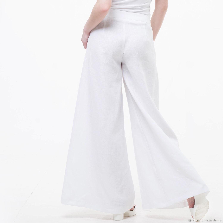 White Palazzo pants made of 100% linen, Pants, Tomsk,  Фото №1