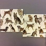 Материалы для творчества ручной работы. Ярмарка Мастеров - ручная работа 2 вида.Кошки и собаки . Салфетка для декупажа. Handmade.