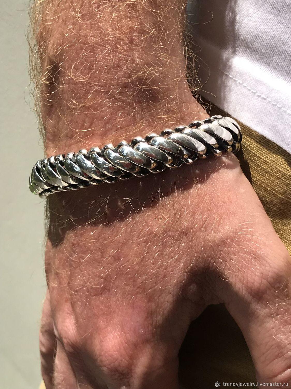 Мужской браслет серебряный 925 пробы стерлинговое серебро плетение -8