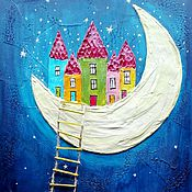 """Картины и панно ручной работы. Ярмарка Мастеров - ручная работа Панно """"Город на луне"""". Handmade."""