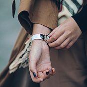 Украшения handmade. Livemaster - original item Wide white leather bracelet with cast stainless steel locks. Handmade.