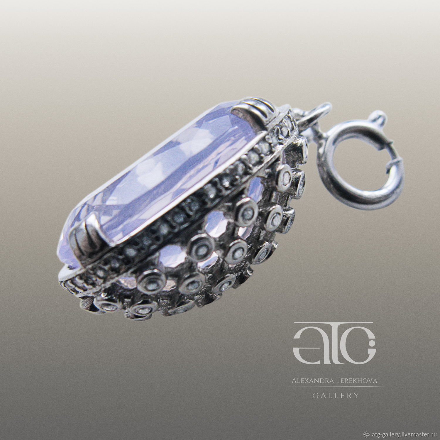 Luxurious pendant/suspension with Lavender amethyst (look like opal) for bracelet.