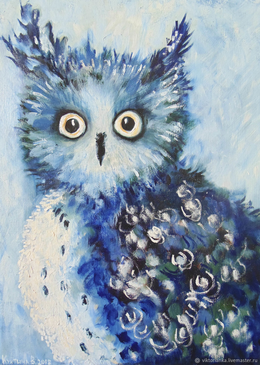 Oil painting 30h40 Owl, Pictures, Moscow, Фото №1
