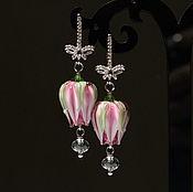 """Украшения ручной работы. Ярмарка Мастеров - ручная работа """"В розовом саду"""" серьги бутоны лэмпворк. Handmade."""
