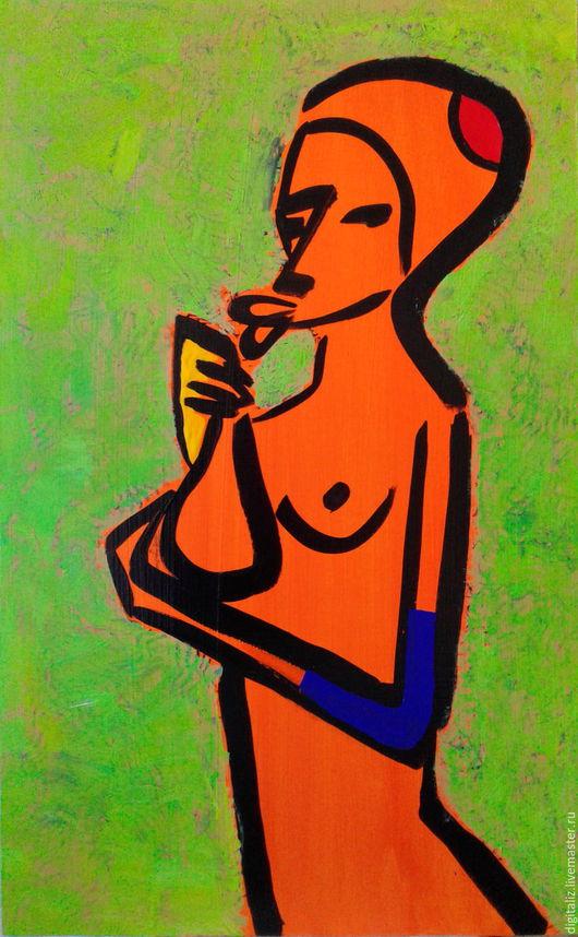 Ню ручной работы. Ярмарка Мастеров - ручная работа. Купить Orange girl with flask. Handmade. Оранжевый, девушка, акрил