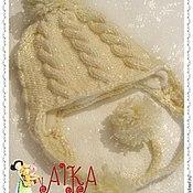 Аксессуары ручной работы. Ярмарка Мастеров - ручная работа Зимняя шапка  с косами для девочки. Handmade.