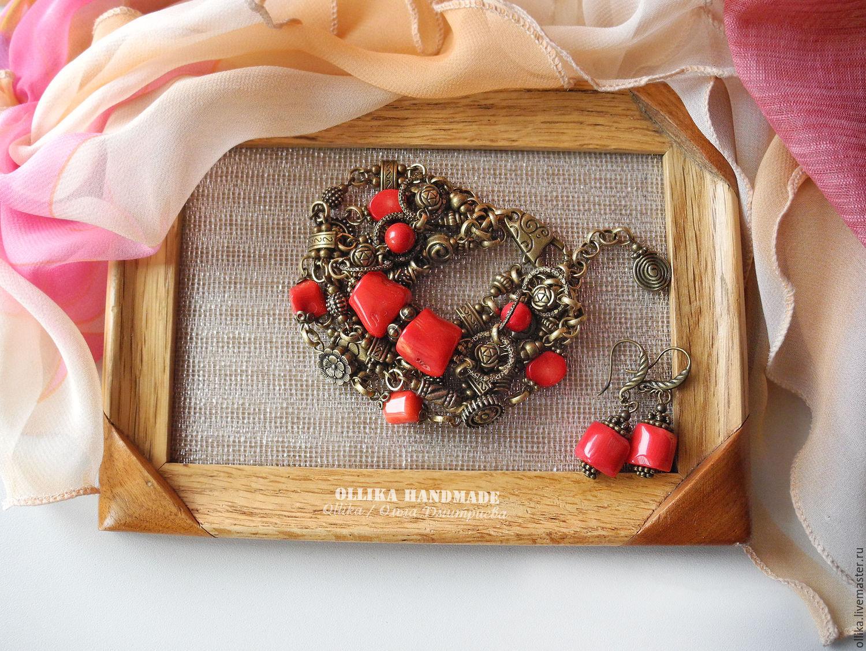 Браслет Кораллы в Бронзе, женский бронзовый коралловый браслет