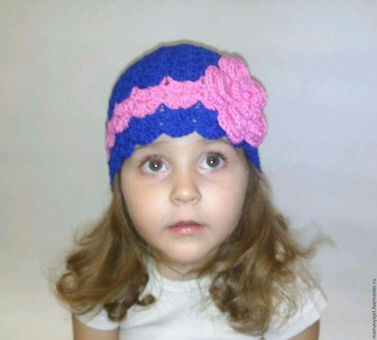 Шапки и шарфы ручной работы. Ярмарка Мастеров - ручная работа. Купить ажурная шапочка с цветком. Handmade. Тёмно-синий, хлопок