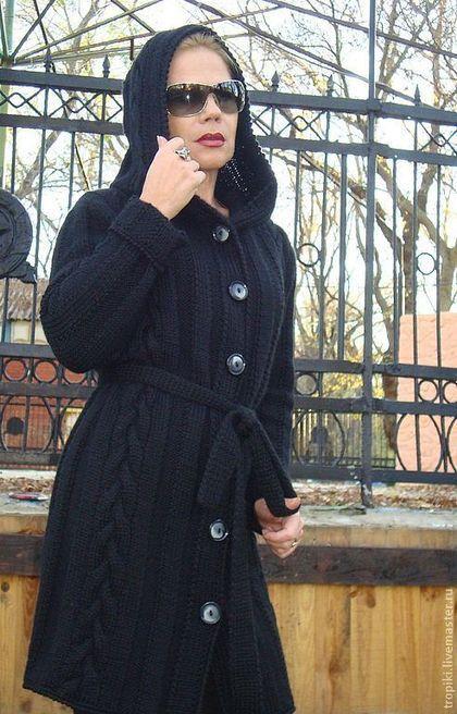 Верхняя одежда ручной работы. Ярмарка Мастеров - ручная работа. Купить Пальто- кардиган с капюшоном. Handmade. Чёрный