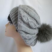 Аксессуары handmade. Livemaster - original item Grey beret with POM-POM beret hat Angora fine. Handmade.