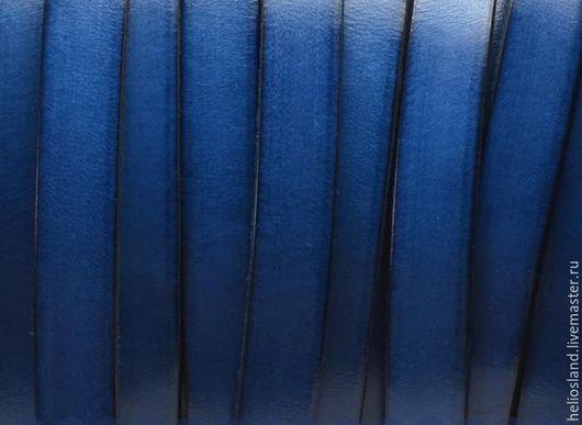 Для украшений ручной работы. Ярмарка Мастеров - ручная работа. Купить Кожаный шнур плоский 10 мм синий. Handmade.