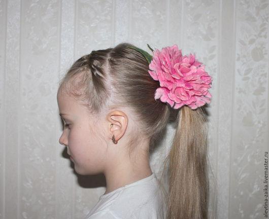 """Заколки ручной работы. Ярмарка Мастеров - ручная работа. Купить украшение для волос """"Пион"""". Handmade. Розовый, цветок в волосы"""