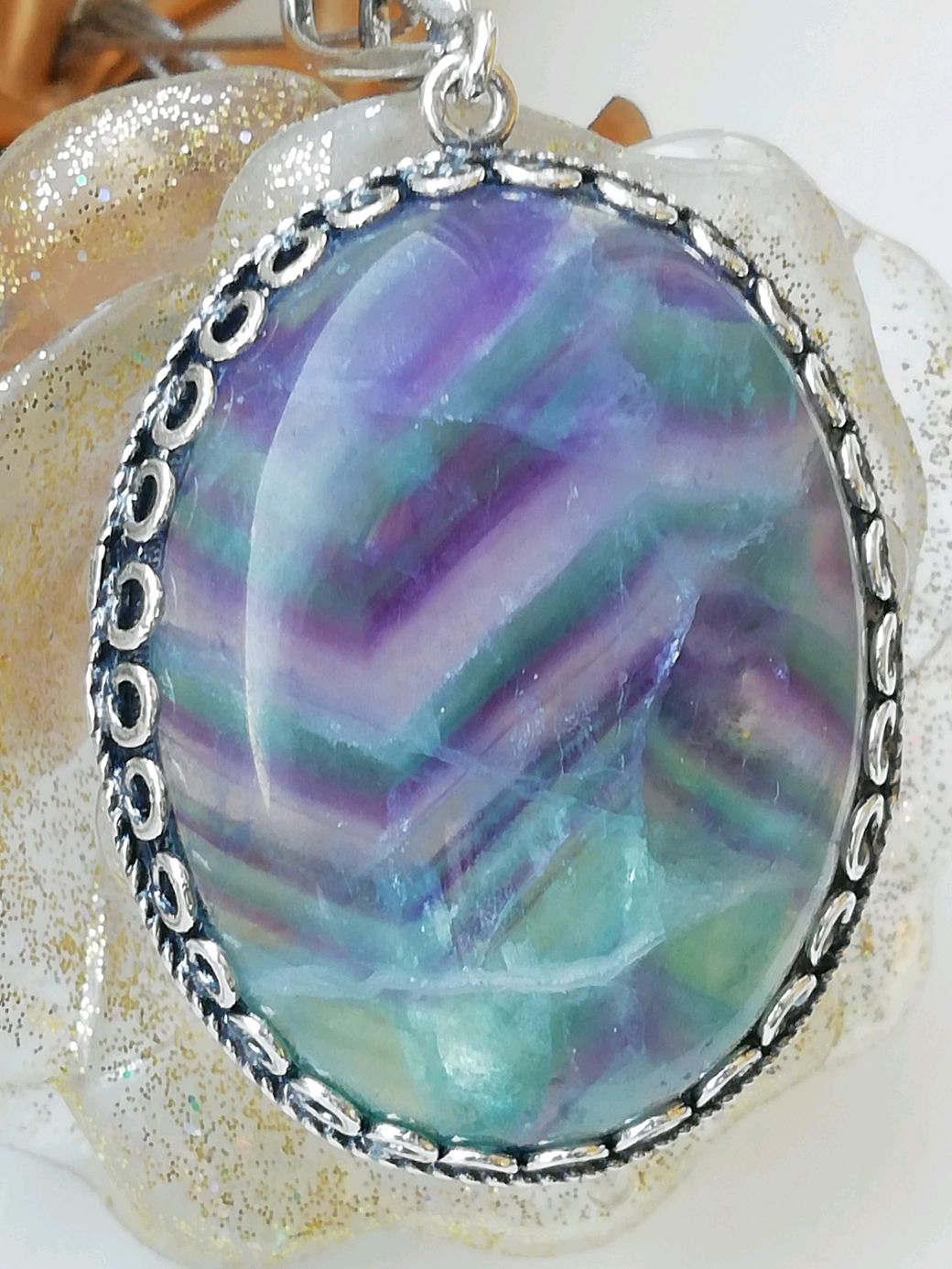 Pendant with natural fluorite ' FLUORITE PATTERNS 1, Pendant, Moscow,  Фото №1