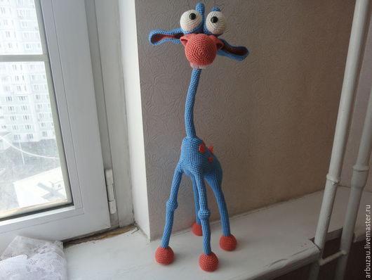 Игрушки животные, ручной работы. Ярмарка Мастеров - ручная работа. Купить Жираф амигуруми. Handmade. Голубой, пряжа хлопок 100%