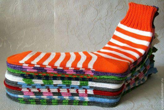 Носки, Чулки ручной работы. Ярмарка Мастеров - ручная работа. Купить ХЛОПКОВЫЕ ПОЛОСАТЫЕ НОСОЧКИ. Handmade. Носки вязаные