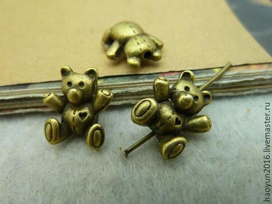 Для украшений ручной работы. Ярмарка Мастеров - ручная работа. Купить 10 шт металлические подвески бронзовую Медведь C3017. Handmade.